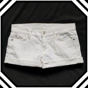 7FAM White Cuffed Jean Shorts